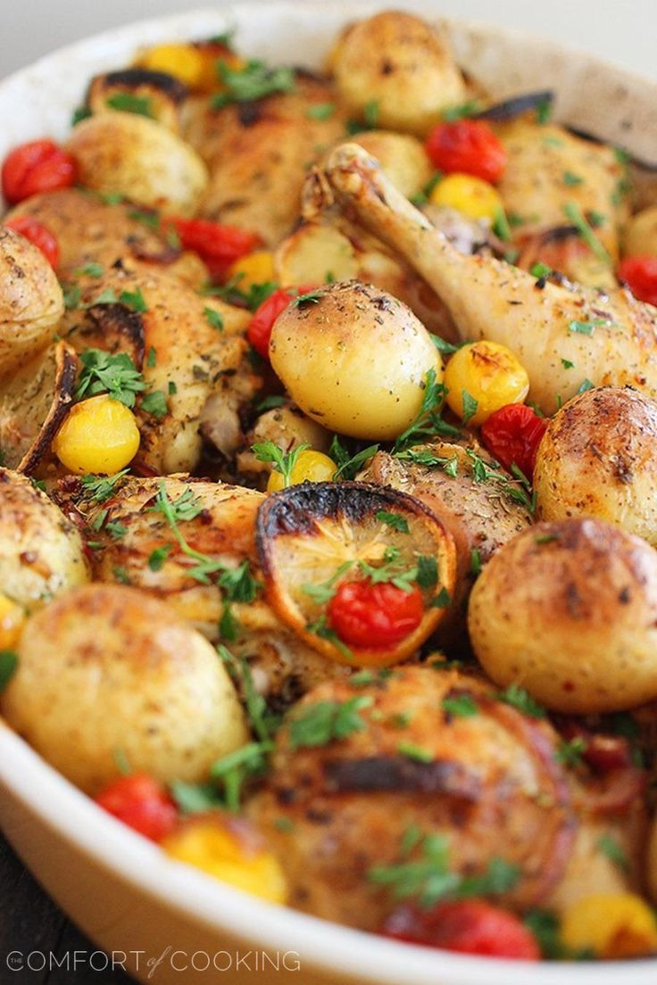 Easy Roasted Lemon Chicken with Tomatoes and Potatoes - one pan dinner the kids will love, too.