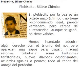 Plebiscito, Billete Chimbo