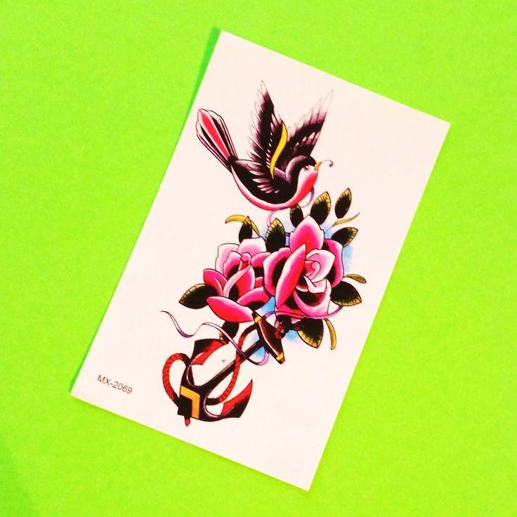 Swallow & Roses Temporary Tattoo