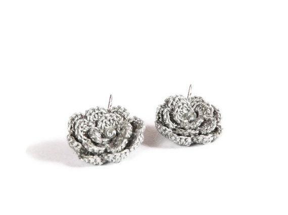 Crocheted grey earrings Charming bridesmaids by myRainbowWorld, $13.00