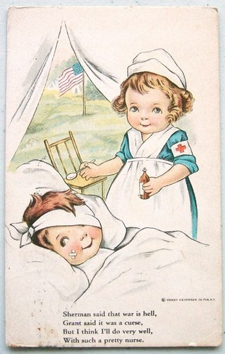 WWI Era Soldier Pretty Nurse Poem 1917 Postcard
