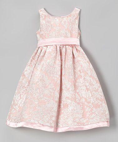 Pink & Gold Floral A-Line Dress - Toddler & Girls by L'etoile #zulily #zulilyfinds