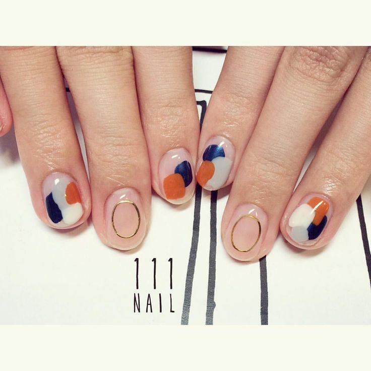 テラコッタ×ネイビー▪️◼️ #nail#art#nailart#ネイル#ネイルアート#クリアネイ