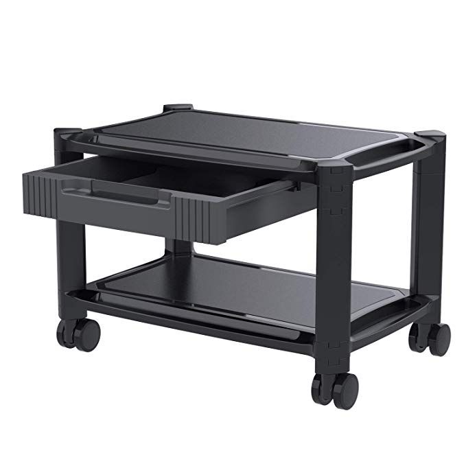 Printer Stand Under Desk Printer Cart With 4 Rolling Wheels Printer Stand Printer Cart Storage Drawers