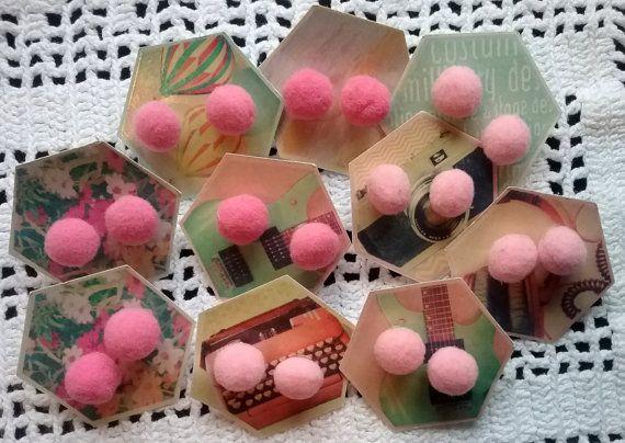 Girl's PomPom Earrings Girls Stud Earrings by jeanienineandme