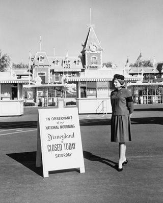 Disneyland closed in observance of national mourning after the assassination of President John F. Kennedy. November 23, 1963.
