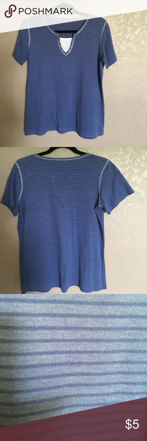 Blue and white top Short sleeved blue on blue striped cotton top with faux white tee piece. Chrystal Adobe Tops Tees - Short Sleeve