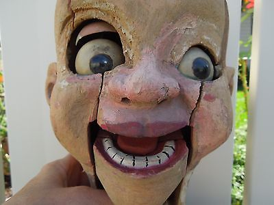 "42"" Antique Wood Handcarved Scary Ventriloquist Puppet Doll No Reserve"