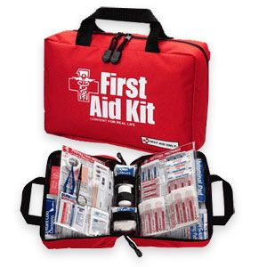 First Aid Kit. For non-zombie injuries. For zombie injuries, you're better off leaving your gear for another survivor and using a 9mm to buy the farm.