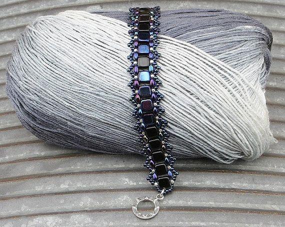 Dark Blue Beaded Bracelet by CatchTheBeads on Etsy
