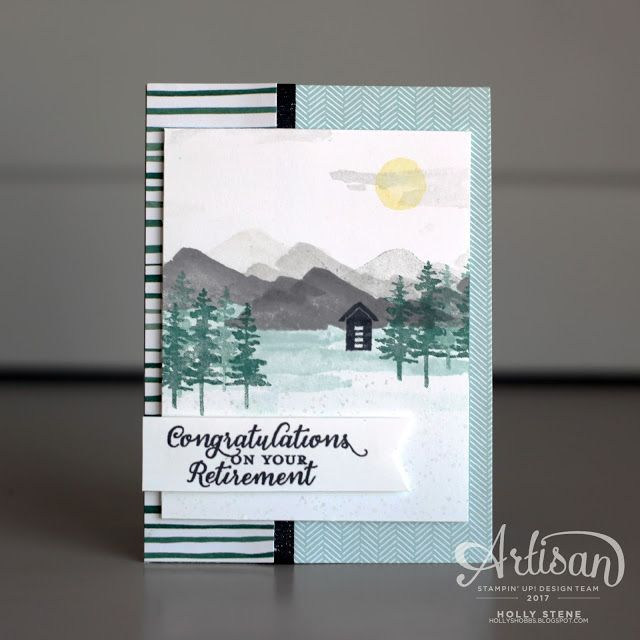 Waterfront from Stampin' Up! Is a beautiful set that you can create many scenes with! This retirement card features a sentiment from Wild About Flowers