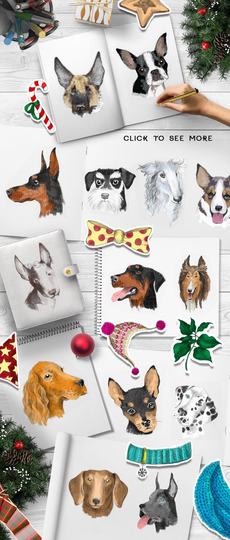 #NewYear Bundle: 15 Different #Dog Breeds and Elements | #masterbundles