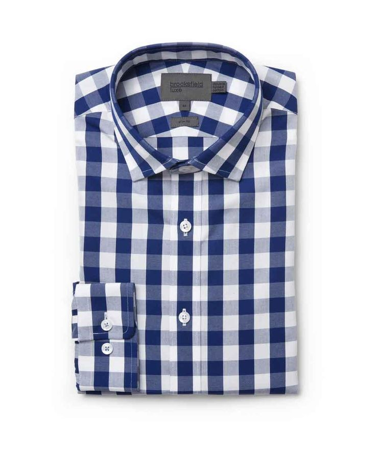 Brooksfield Online Shop: large gingham shirt - bfc975 navy