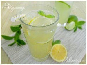 Домашний лимонад из лимонов с базиликом