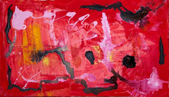 Original Abstract Acrylic Painting. Gestural work. Signed and dated on the back.  Size: 120cm x 70cm (47in x 27.5in)