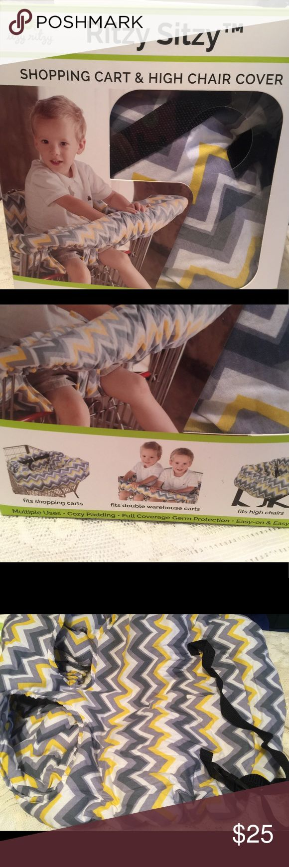 RITZY SITZY SHOPPING CART & HIGH CHAIR COVER. NIB Keep baby away from germs. The portable Ritzy Sitzy is comfortable, clean, and padded for ultimate comfort with a safety belt. This 100-percent cotton cover is reversible to extend product life. There are (2) toy loops and (2) pockets included to stow keys and a cell phone and keep toys from dropping. Ritzy Sitzy Other