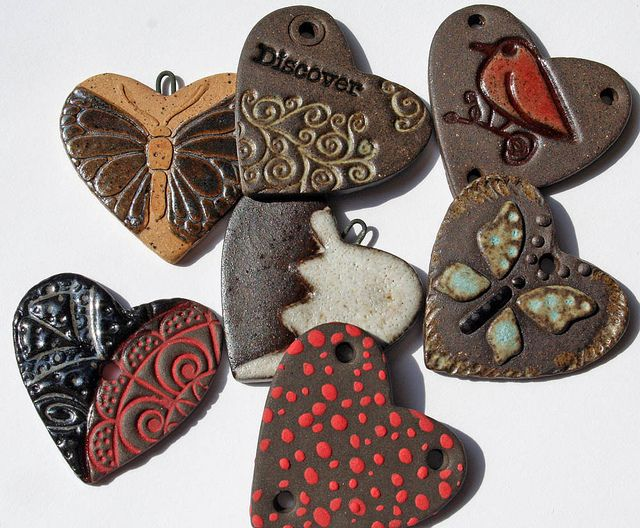 Assorted Ceramic Heart Charms by Lisa Peters Art, via Flickr