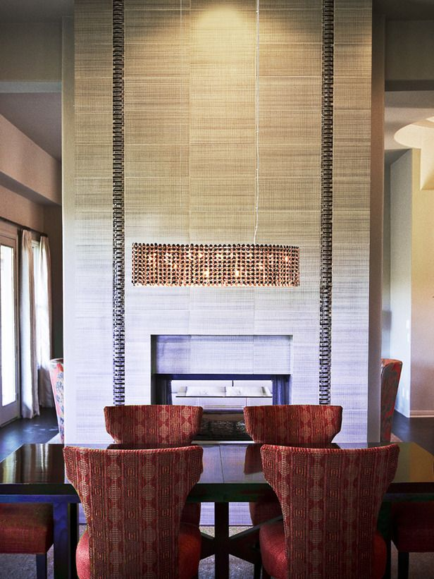 Tall Tiled Fireplace With Stripe Dining Room FireplaceFireplace IdeasTiled