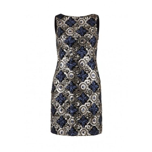 Ruby Ray Ornate Sequin Mini dress in Blue and Gold (€155) ❤ liked on Polyvore featuring dresses, short white dresses, little black dress, white sequin dress, short blue dresses and short white cocktail dress