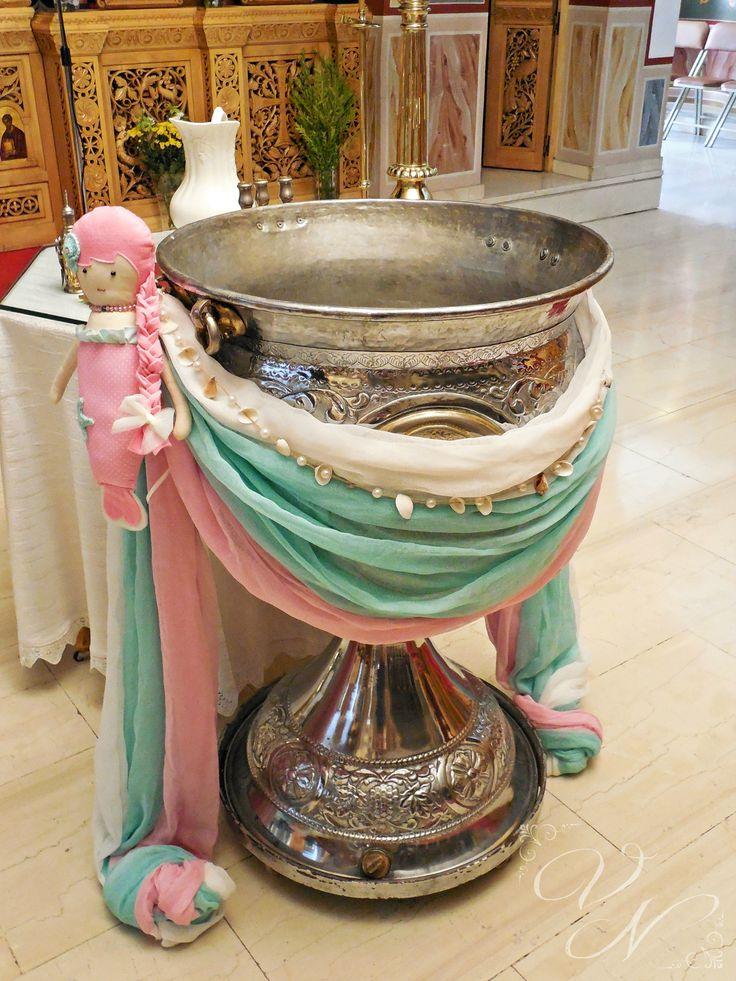 """Διακόσμηση κολυμπήθρας """"Γοργόνα"""" με χειροποίητη υφασμάτινη γοργόνα - Baptismal font with handmade fabric mermaid"""