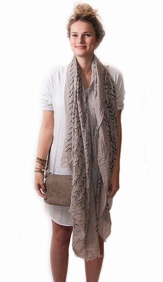 Sjaal met zomerse print takjes - Zusss