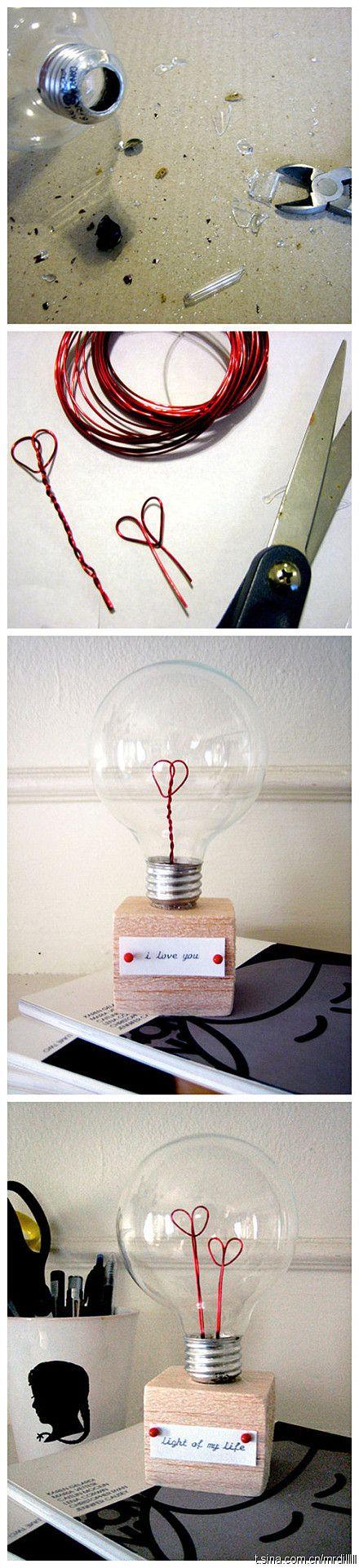 Heart light bulb DIY.  Cute!