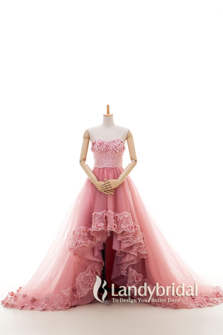 カラードレス ハートネック アシンメトリー 綺麗なローズピンク レース 小花 二次会 LD3942