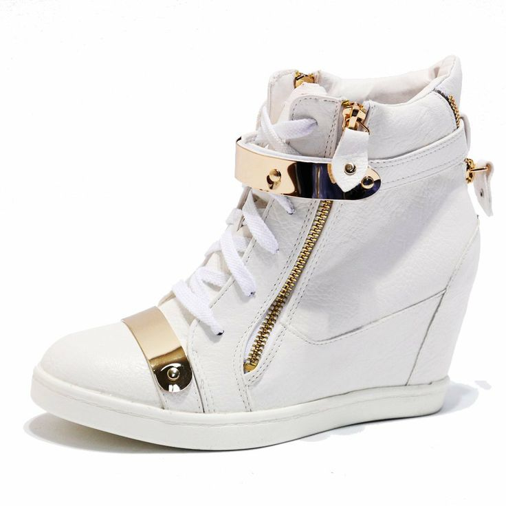 Amazon.com: Women's White Gold Metal Plated Concealed Wedge Heel High Top Sneakers Trainers: Shoes