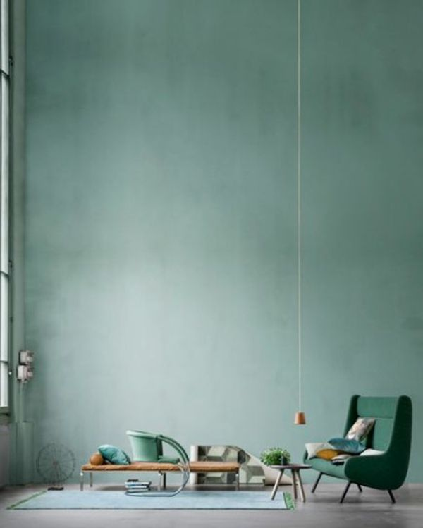 wandfarbe in grün farbideen wandgestaltung hoch zimmerdecke