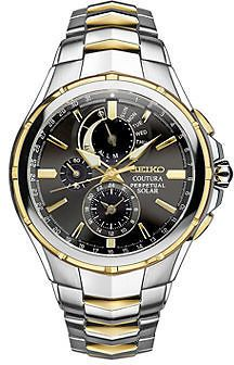 Seiko Coutura Mens Two-Tone Stainless Steel Solar Perpetual Calendar Chronograph Sport Watch SSC376