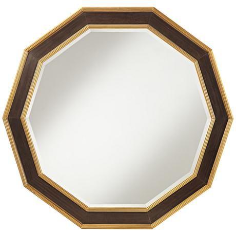 "Kircher Wood 36"" x 36"" Brown Wall Mirror"