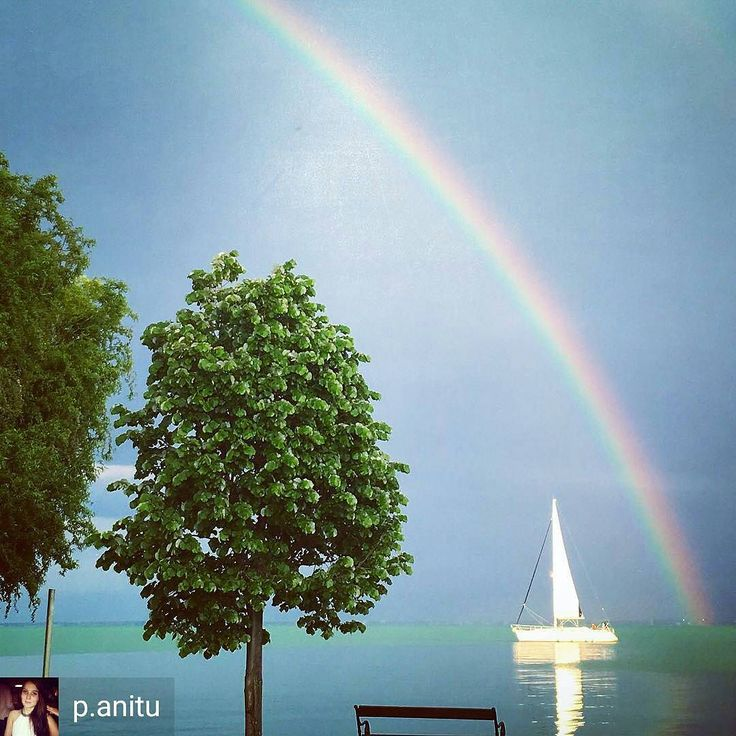 @Regrann from @p.anitu - Somewhere over the rainbow #wonderfull #rainbow #sundaymood #rainyday #balaton #lovethisplace #sailing #beautifulcolors #BalatonWebsite www.nr86.hu @nr86hu - #regrann