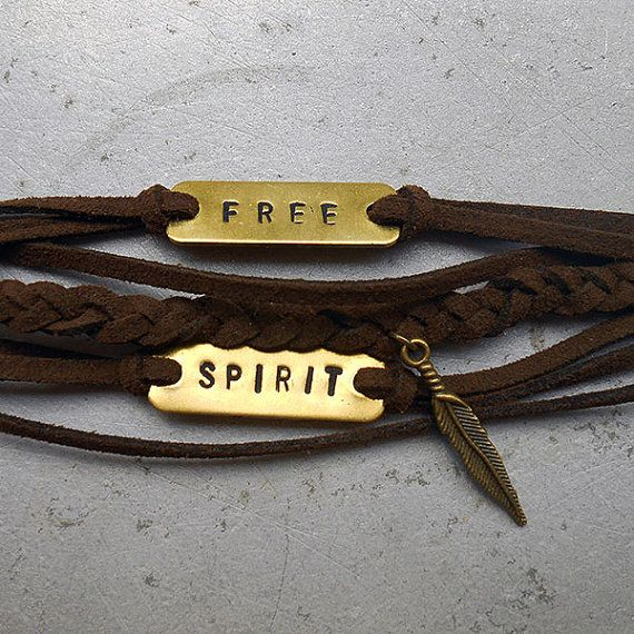 "Free Spirit - Bracelet Free Spirit- Dark brown suede hand stamped tags that read ""Free"" & ""Spirit"" brass feather charm"