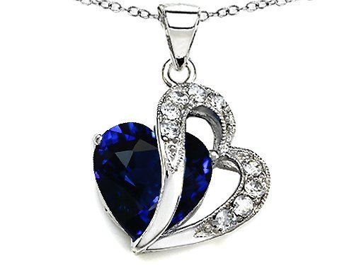 Original Star K(tm) Large 12mm Created Blue Sapphire Double Heart Pendant in Sterling Silver with Chain Star K. $79.99. Star K. Designs are exclusive and protected by Copyright Laws. Free Chain in a matching metal will be included. Guaranteed Authentic from the Star K designer line