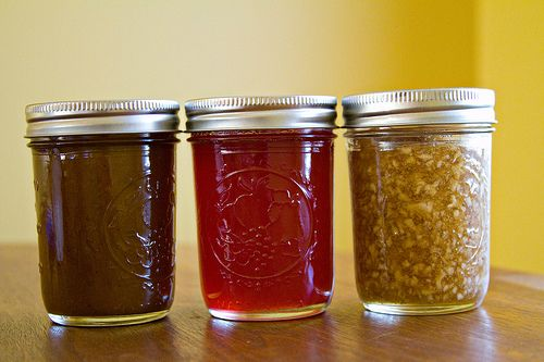 Pumpkin Butter, Pomegranate Jelly, and Apple-Cinnamon Jam