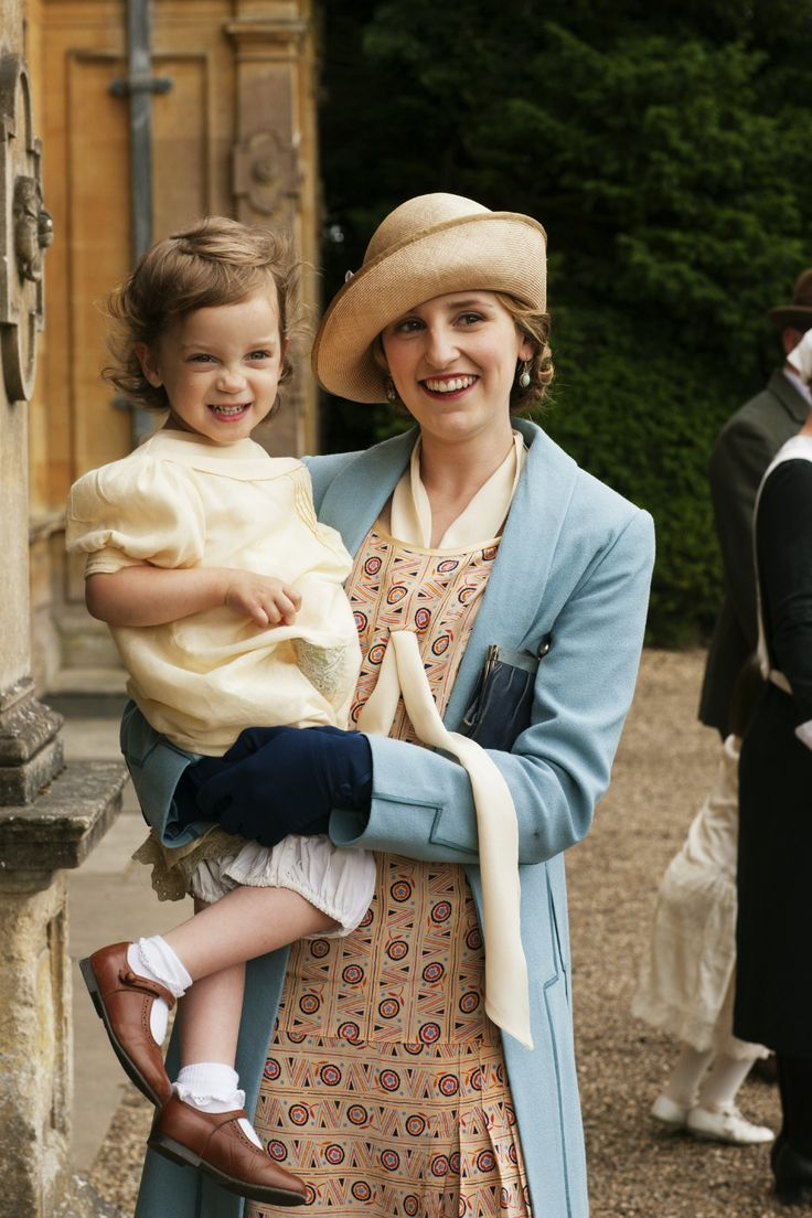 Lady Edith and her daughter, Marigold.  Marigold was born after her father disappeared (& later died).  Lady Edith was never married to him.  OH...Scandal !