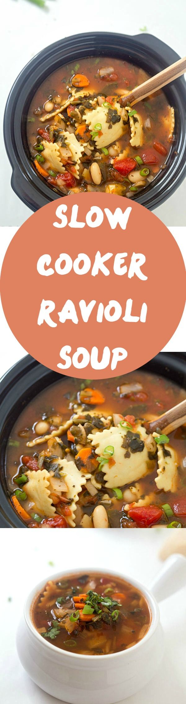 Slow Cooker Ravioli Soup - Loaded with vegetables, cheese-stuffed ravioli! So good, grab a piece of bread and let's dig in! {ad}