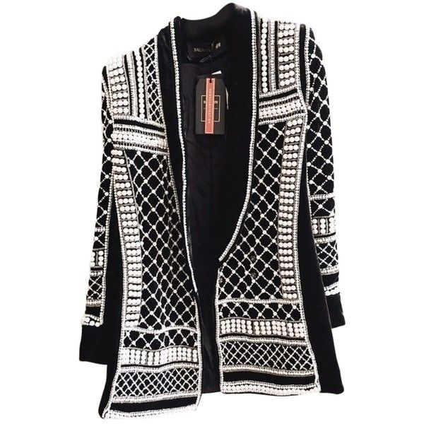 Pre-owned Balmain X H&m Paris Black Velvet And Pearl Beaded Blazer (£1,240) ❤ liked on Polyvore featuring outerwear, jackets, blazers, black velvet and pearl beaded, balmain, beaded jacket, velvet jacket, blazer jacket and balmain blazer