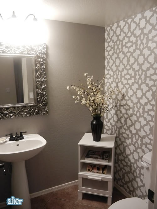 Grey bathroom with stenciled accent wall bathroom for Gray bathroom wallpaper