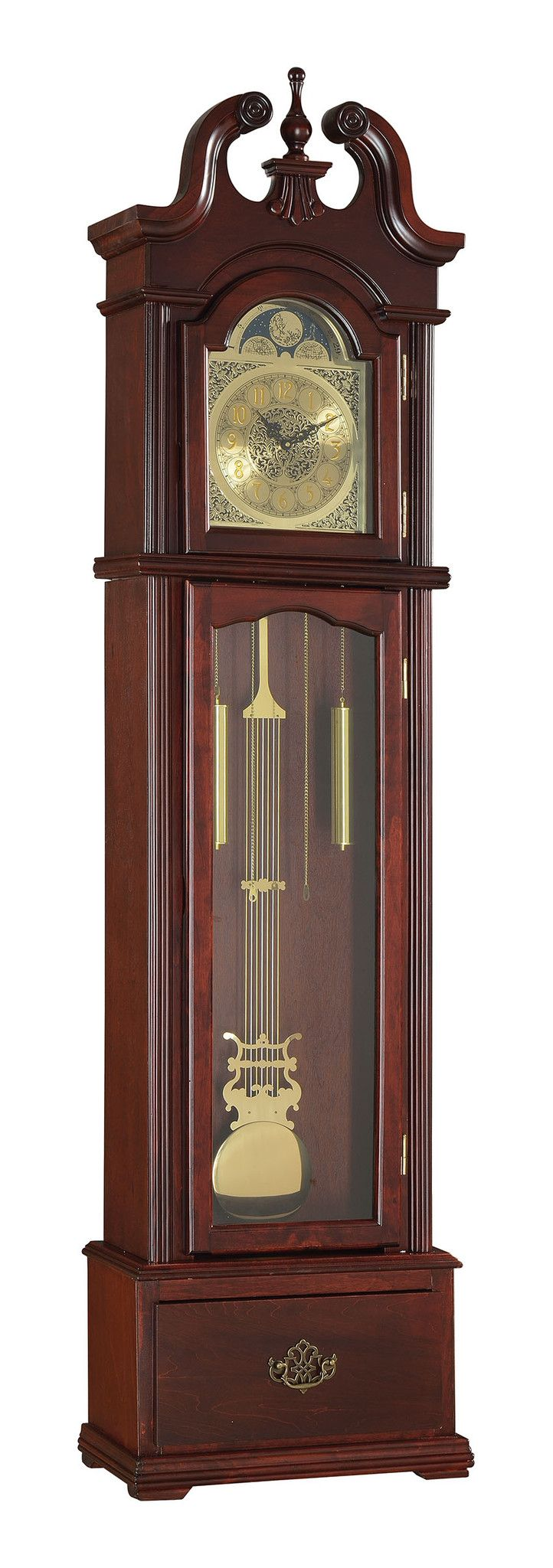 """Cherry Grandfather Clock - 97084 $268  Features :  Color : Cherry  Dimension :  Clock : 20""""' x 8"""" x 77""""H"""
