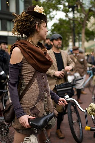 Dressed up for the San Francisco Tweed Ride. / The tweed ride originated in London and now take place in different cities around the world. Participants wear traditional British cycling attire and classic vintage bikes are encouraged. :)