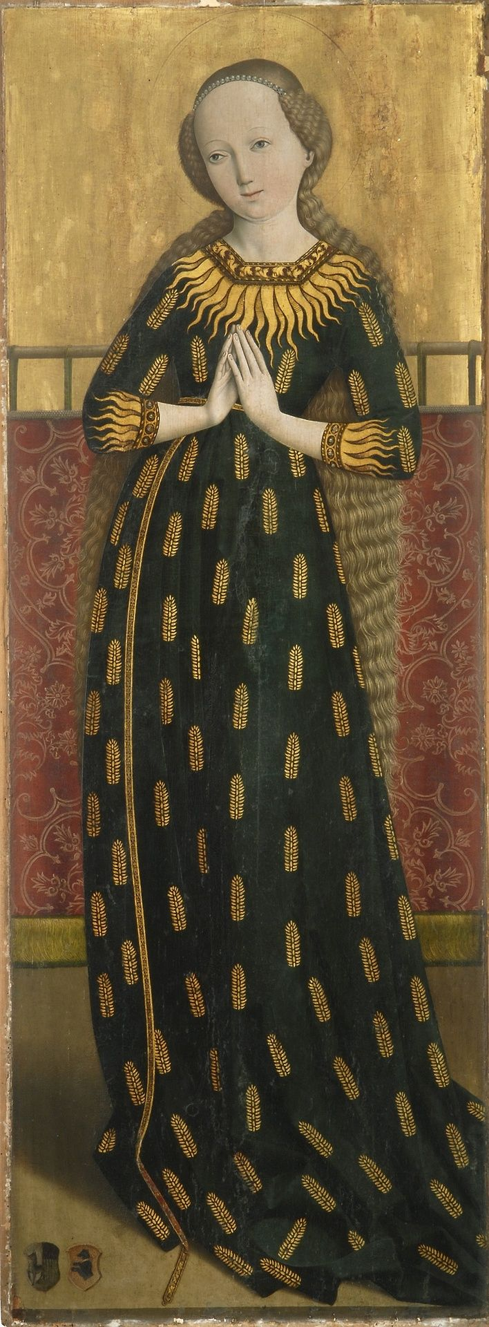 """aria im Ährenkleid"""" or """"Madonna of the Ears"""", c. 1490 Salzburg, Austria  Madonna of Ears, Salzburg, ca 1490, anonymous. 'Madonna of Ears' is a type of depiction of Mary in a dress decorated with golden wheat ears """"as the fertile soil and untilled field of God called to bear fruit, a symbol for her virginal motherhood ."""