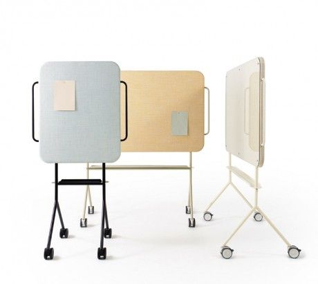 Swedish company ZilenZio makes Mezzo, a roll-around sound absorber / whiteboard / bulletin board for offices! #acoustics