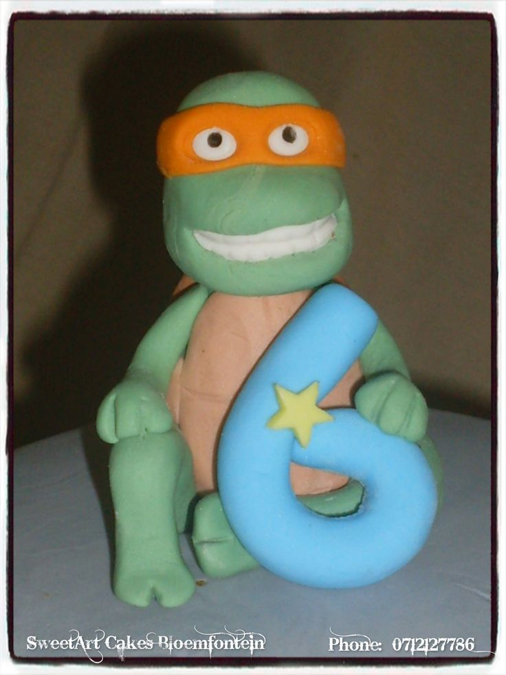 Fondant ninja turtle cake topper. For more info & orders email sweetartbfn@gmail.com or call 0712127786.  Connect with us on Facebook at https://www.facebook.com/SweetArtCakesBfn (WORKSHOPS AVAILABLE)