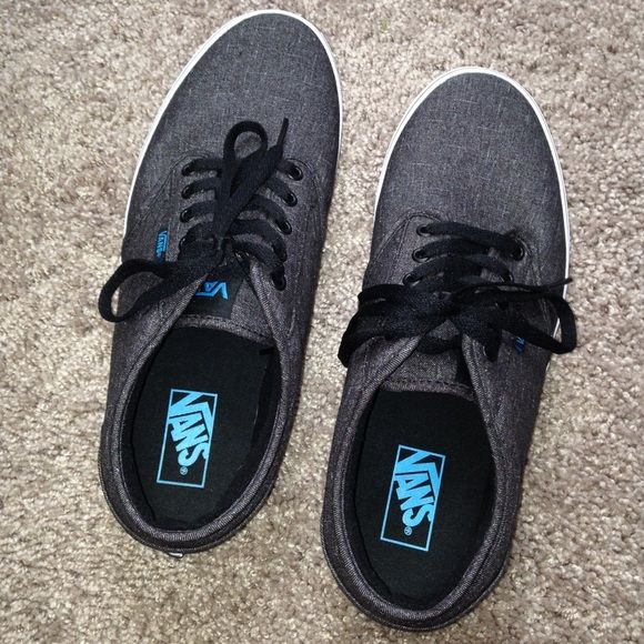 Mens Vans shoes excellent condition mens Vans shoes! only worn one time. no scuffs or signs of wear. charcoal gray color with blue detailing and black laces. SIZE 11.0 MENS! Vans Shoes Sneakers