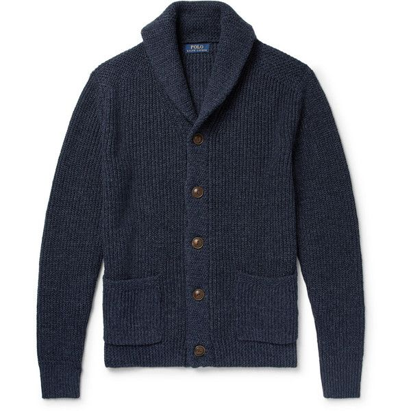 Polo Ralph Lauren Shawl-Collar Mélange Cotton and Linen-Blend Cardigan (£165) ❤ liked on Polyvore featuring men's fashion, men's clothing, men's sweaters, mens shawl collar cardigan sweater, mens shawl collar sweater, mens button sweater, mens button down cardigan sweaters and mens cardigan sweaters