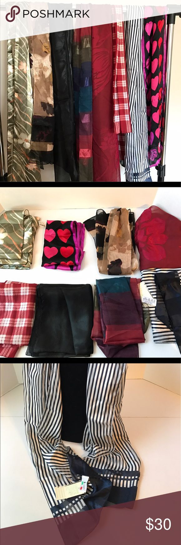 Lot of Womens Scarves Polyester Long Lot of 8 polyester long scarves. Various lengths. Some are new with tags. Some brands include: Echo, Symphony of Scarves, Worthington. Echo Accessories Scarves & Wraps