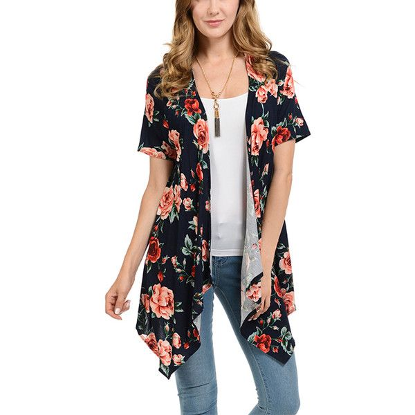 Cool Melon Navy & Red Floral Open Cardigan ($17) ❤ liked on Polyvore featuring tops, cardigans, red open front cardigan, draped cardigan, long slip, long cardigan and navy blue open cardigan