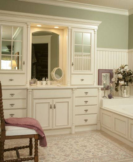 Coastal White Sable Finish On This Traditional Vanity Ensemble. Great Furniture Look. Love