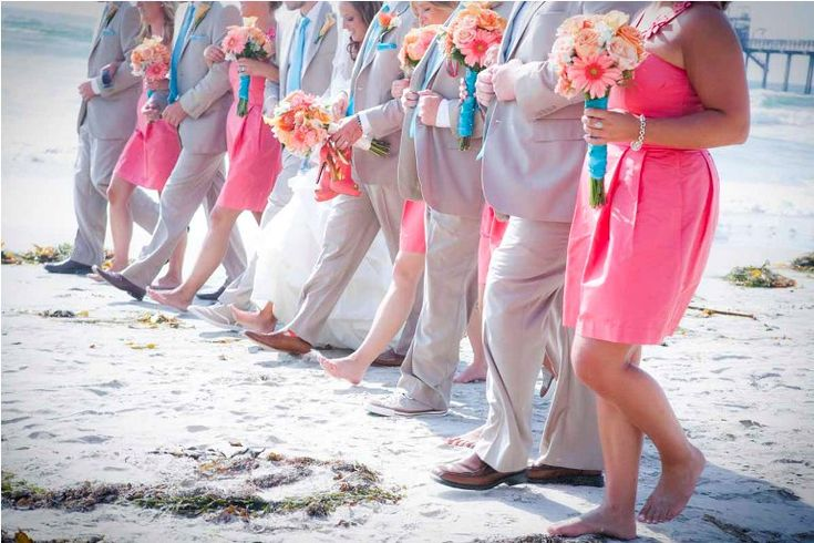 Khaki, Coral, and Turquoise. LOVE This is exactly what i want except the girls are wearing the turquoise color instead of pink.